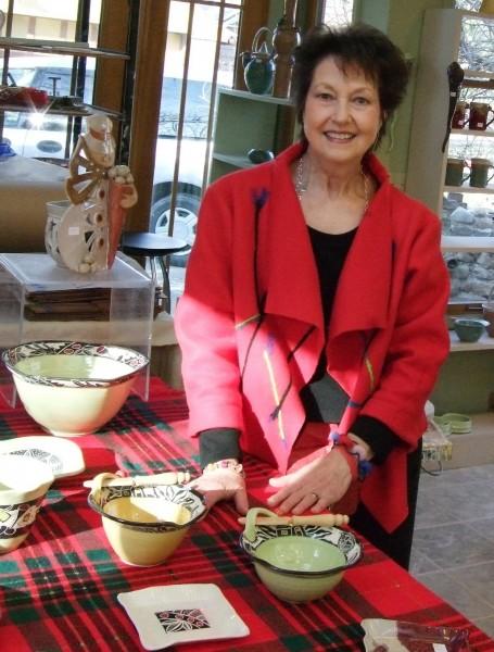 Elaine Lamb in her pottery studio.