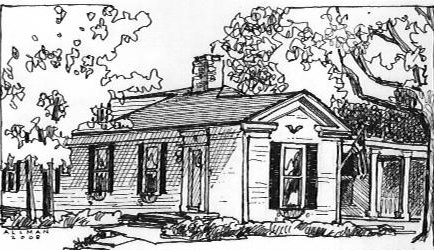 Sketch of house by Cindy Allman for the Medina CDC