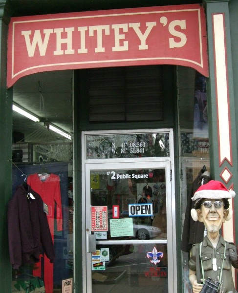 Commander Jim guards the entrance to Whitey's Army Navy store on Public Square.
